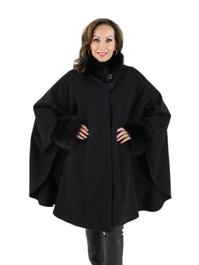 Woman's Black Cashmere Wool Cape