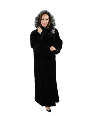 Black Sheared Mink Fur Coat with Detachable Chinchilla Trimmed Hood