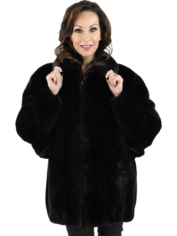 Woman's Ranch Mink Fur Zipper Jacket