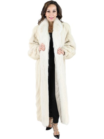 Woman's Tourmaline Female Mink Fur Directional Coat with Fox Fur Tuxedo Front