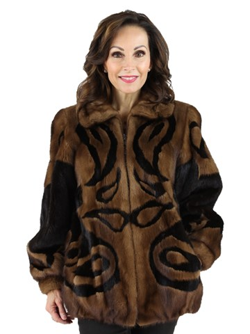 Woman's Demi Buff Mink Fur Jacket with Dark Mahogany Mink Inserts