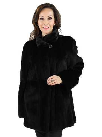 Woman's Black Sheared Mink Fur Jacket Reversible to Rain Fabric