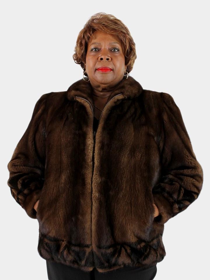Woman's Demi Buff Mink Fur Jacket with Dark Mahogany Mink Inserts