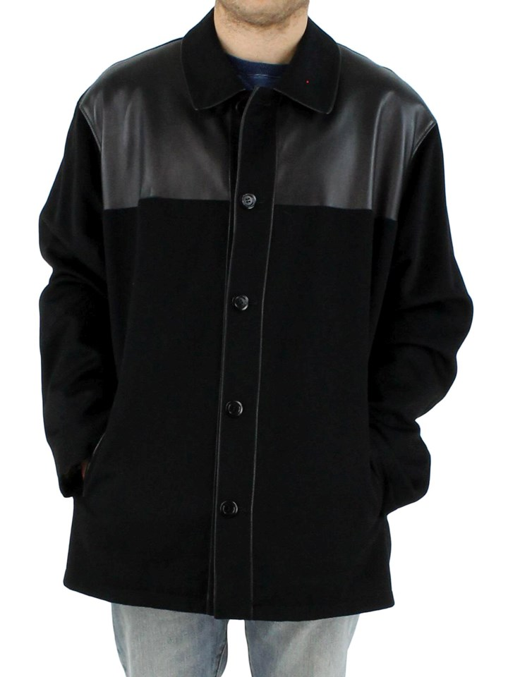 NEW Man's Black Cashmere Jacket with Black Leather Yoke