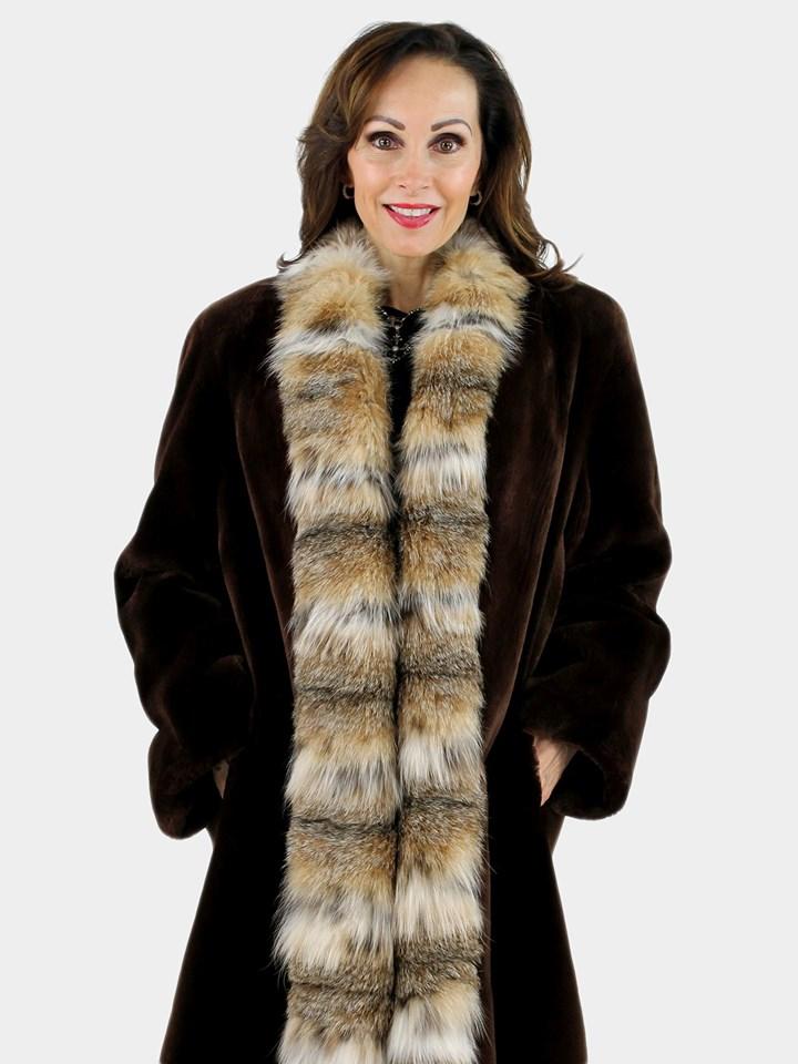 Woman's Matara Sheared Beaver Fur Stroller with Lynx Tuxedo Front