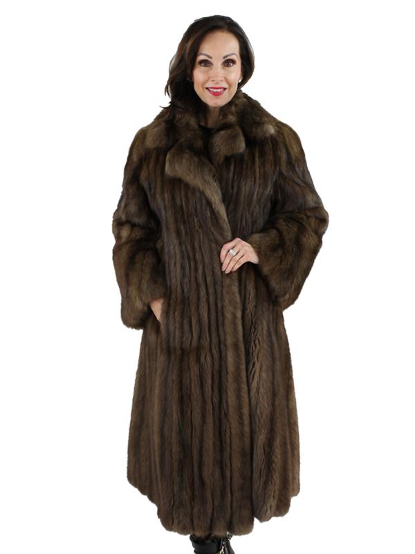 Sable Fur Coat >> Natural Russian Sable Fur Coat Women S Medium Dark Brown