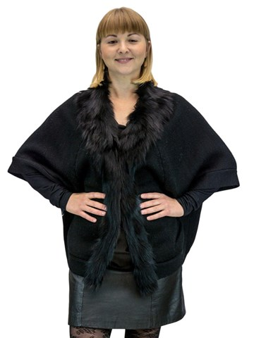 NEW Wool Knit Sweater Poncho With Fox Collar