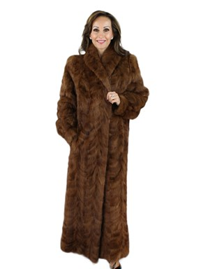 Woman's Whiskey Mink Section Fur Coat