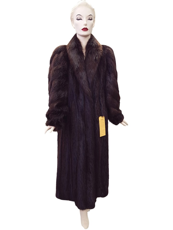 Long Hair Beaver Coat with Diagonal Sleeve Design