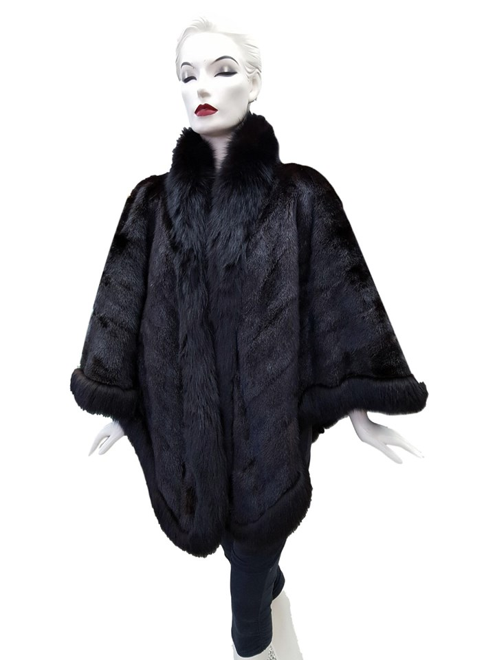 SAGA Furs Mink Cape with Fox Trim