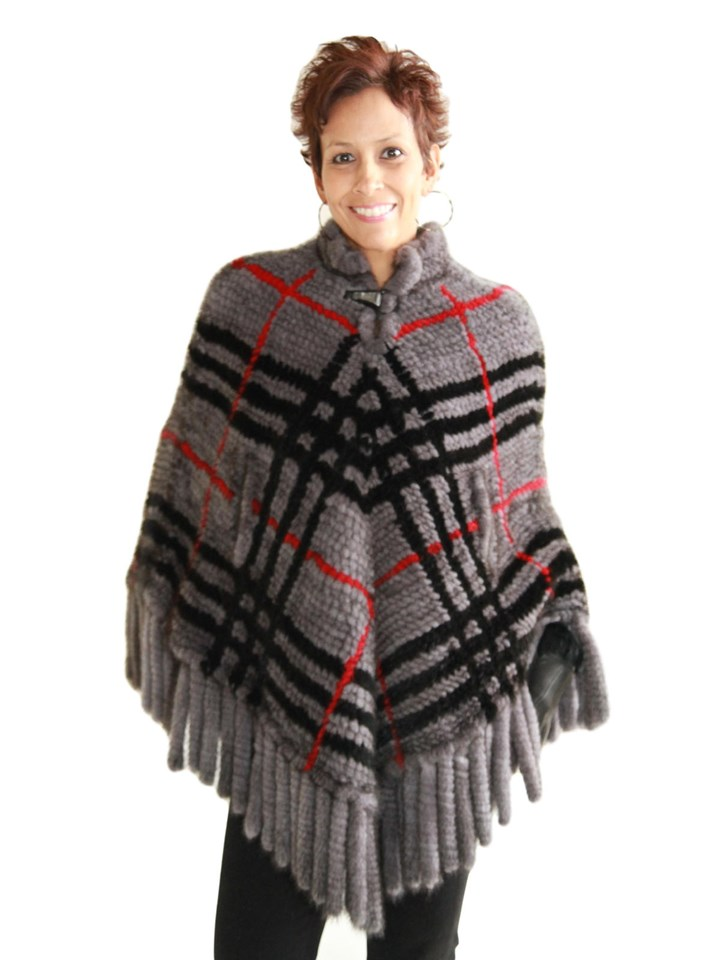 NEW Linda Richards Gray Tartan Plaid Mink Poncho