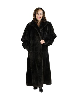 Woman's Dark Chocolate Brown Full Length Leather Coat