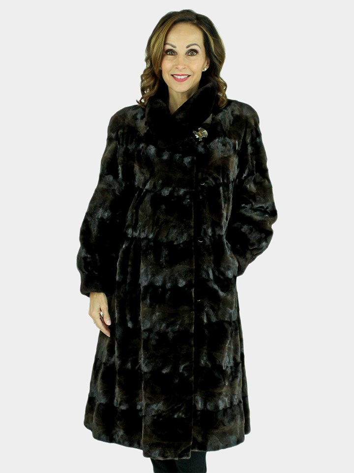Woman's Mahogany Sculptured Mink Fur 7/8 Coat