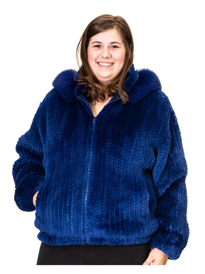 NEW Royal Blue Sheared Beaver Knitted Jacket with Fox Trimmed Hood