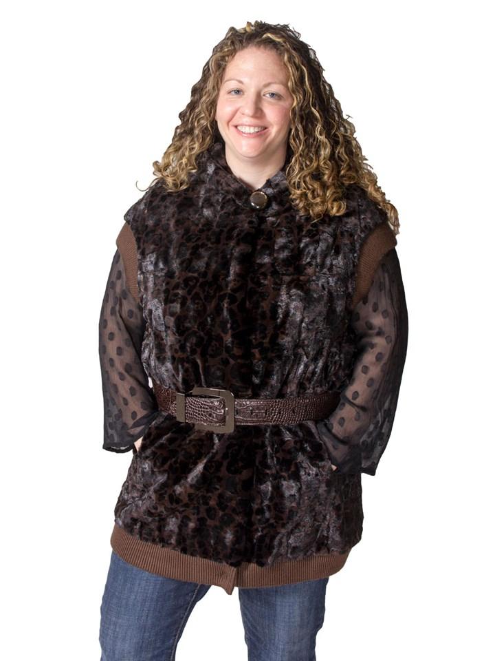 NEW Sheared Mink Animal Print Hooded Vest