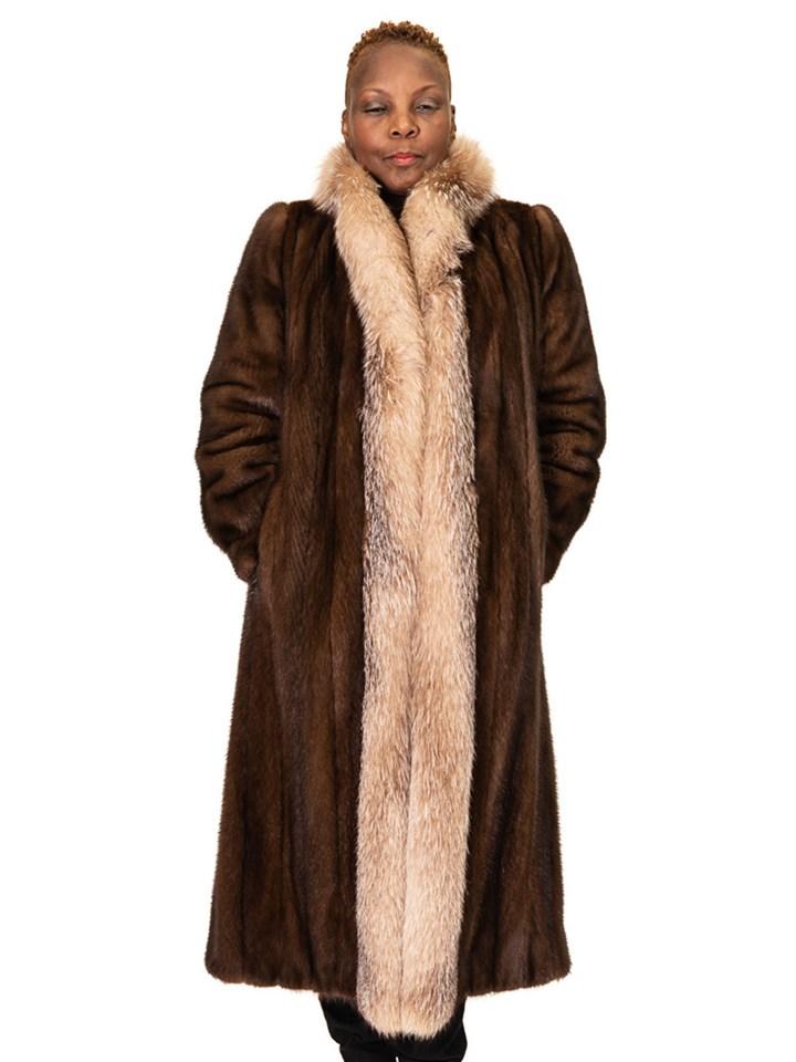 Lunaraine Mink Coat with Crystal Fox Tuxedo Trim