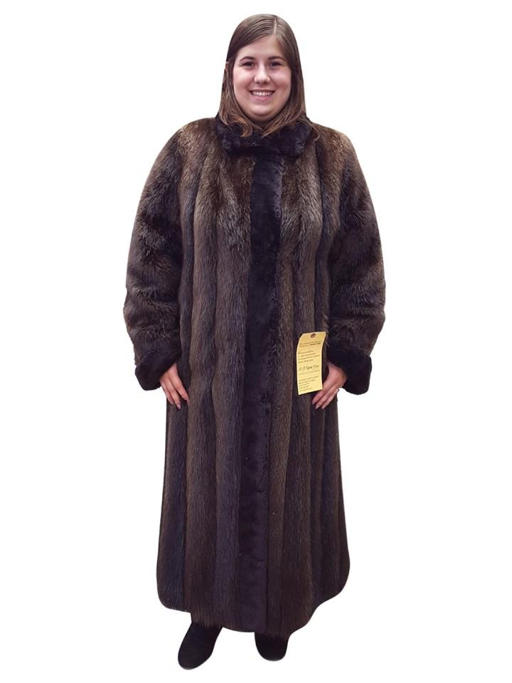 Long Hair Beaver Coat with Sheared Beaver Trim