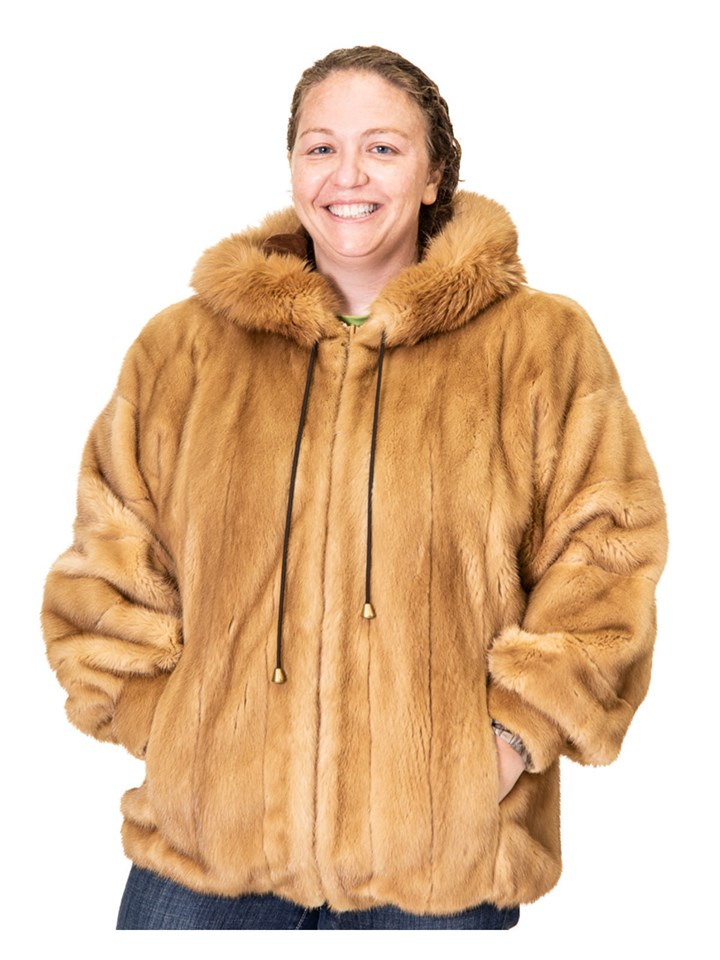 Gold Mink Zip Parka with Fox Trimmed Hood