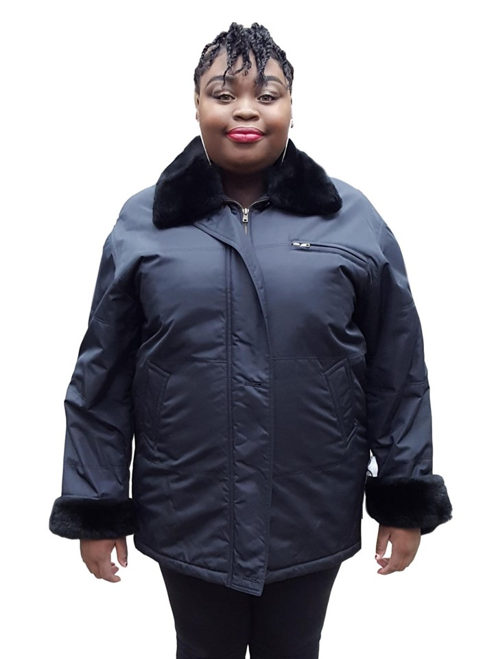 NEW Black Quiana Nylon Jacket with Nutria Collar and Cuffs and Rabbit Liner