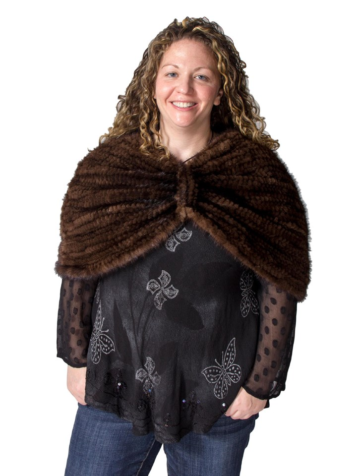 NEW Adrienne Landau Demi Buff Mink Fur Capelet