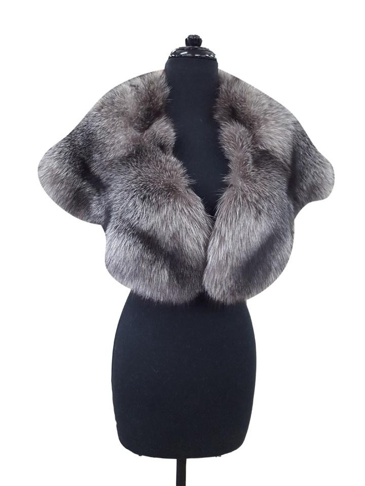 Indigo Silver Fox Large Cape Collar