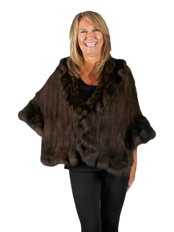 NEW Russian Sable Knitted Ruffle Cape