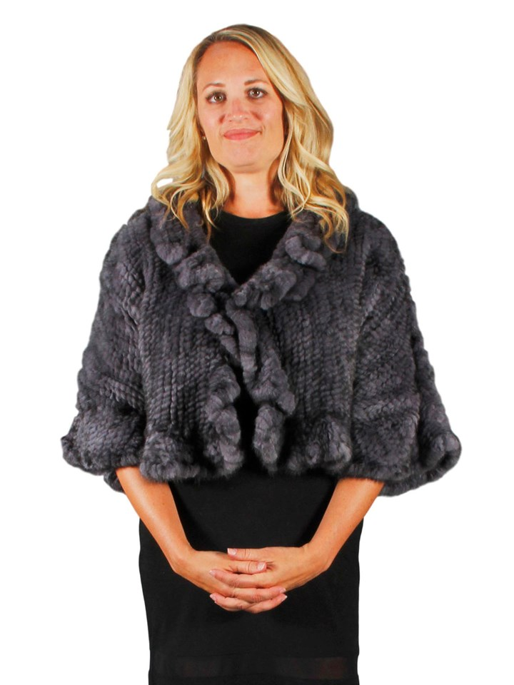 NEW Blue Iris Knitted Mink Ruffled Bolero