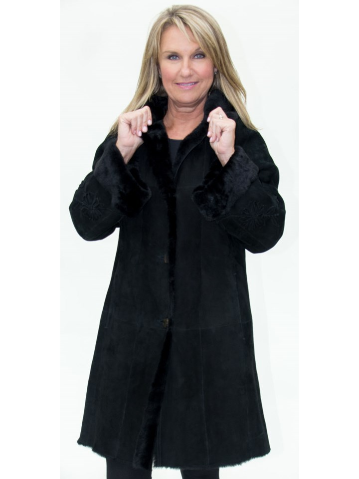 NEW Christia of Italy Black Merino Suede Lamb Shearling Hooded Parka