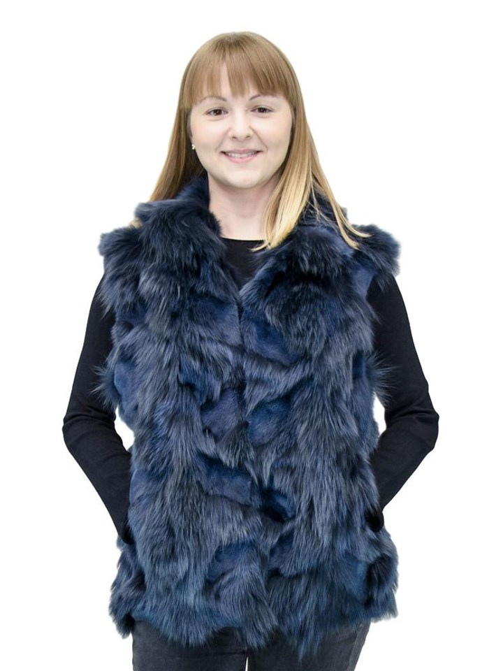 NEW Adrienne Landau Indigo Fox Sections Pieced Vest
