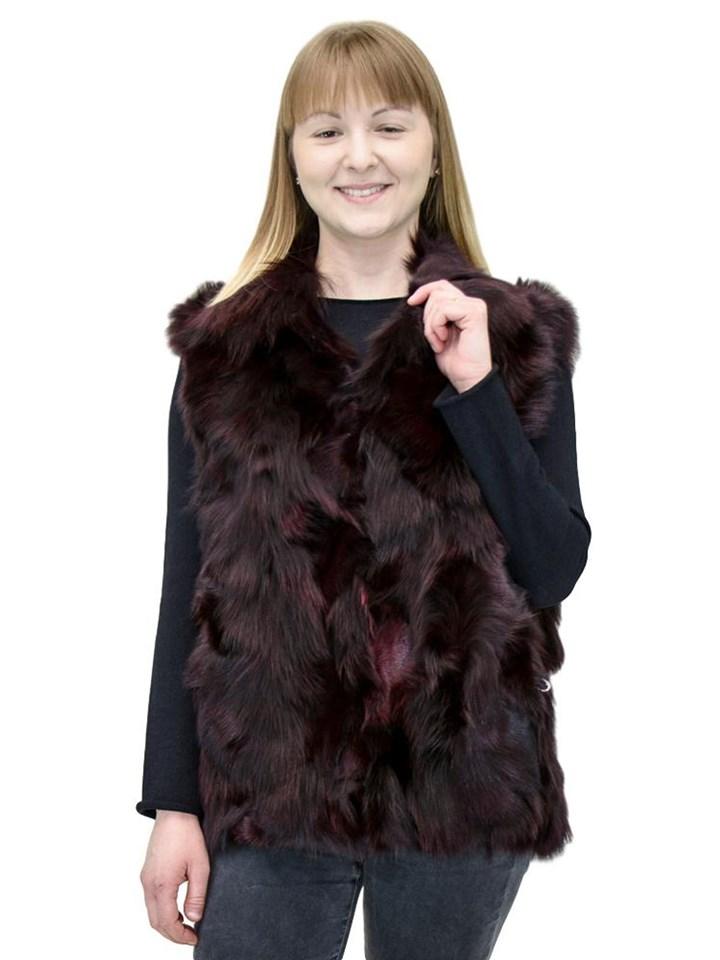 NEW Adrienne Landau Merlot Fox Sections Pieced Vest