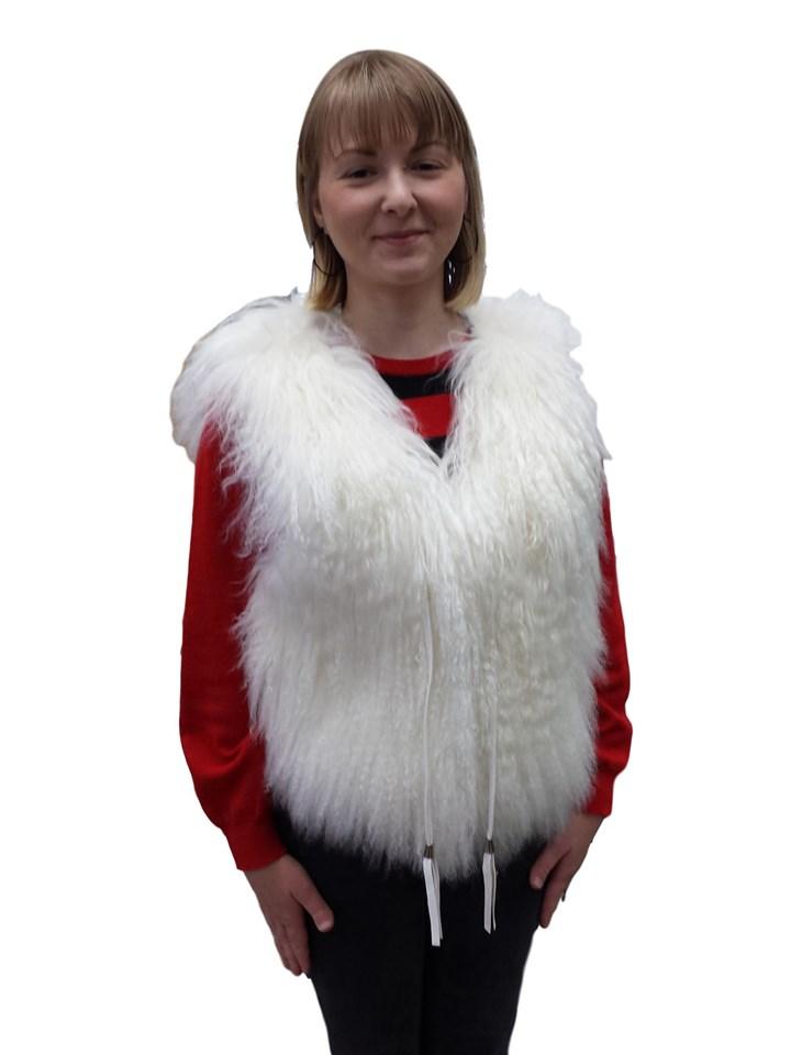 NEW White Tibetan Lamb Vest