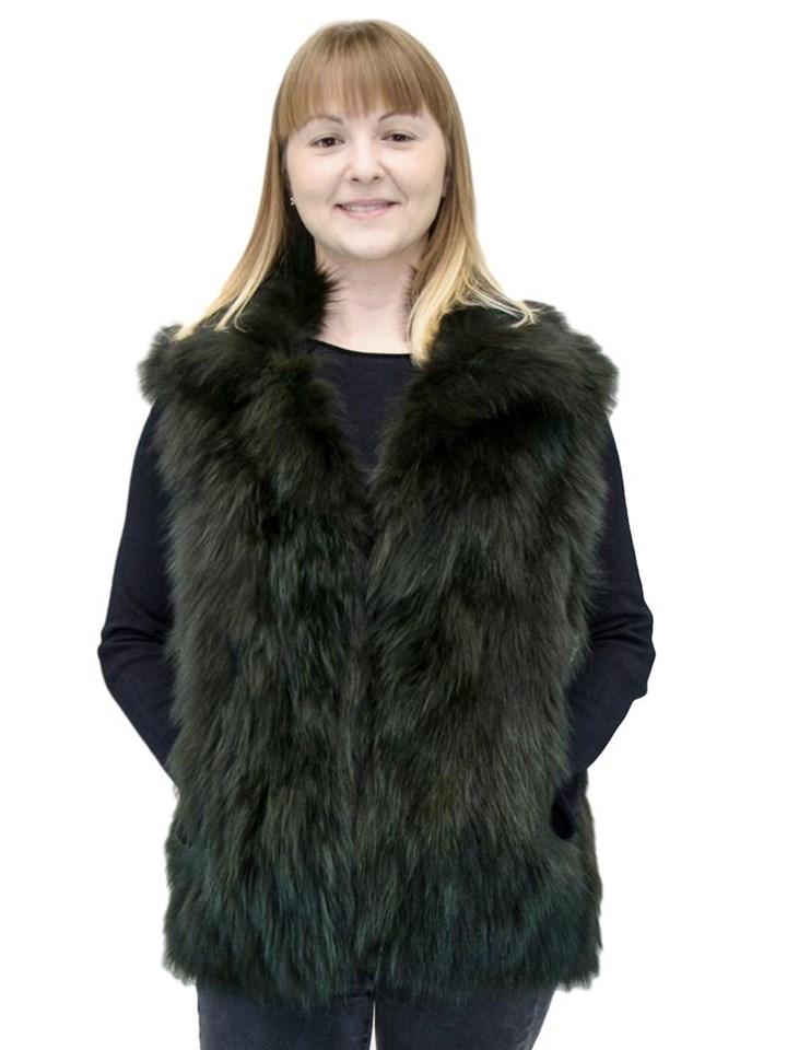 NEW Adrienne Landau Green Fox Vest