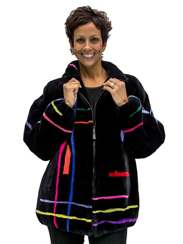 NEW Zuki Black Onyx Sheared Beaver Zip Jacket