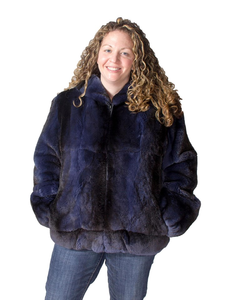 NEW Blue Denim Rex Rabbit Parka
