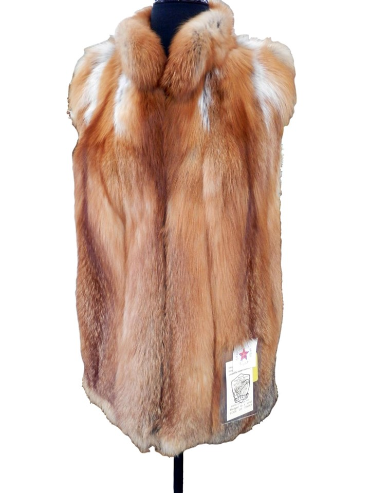 NEW Natural Canadian Red Fox Vest