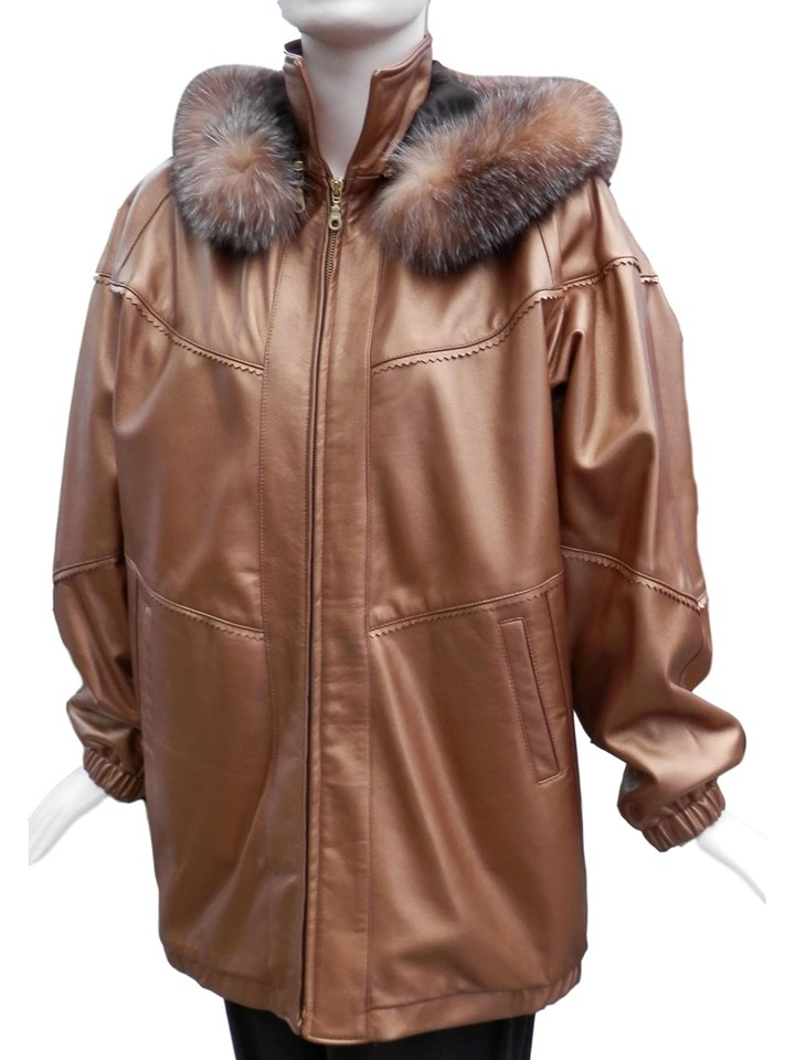 NEW Metallic Cabretta Lamb Leather Parka with Crystal Fox Fur