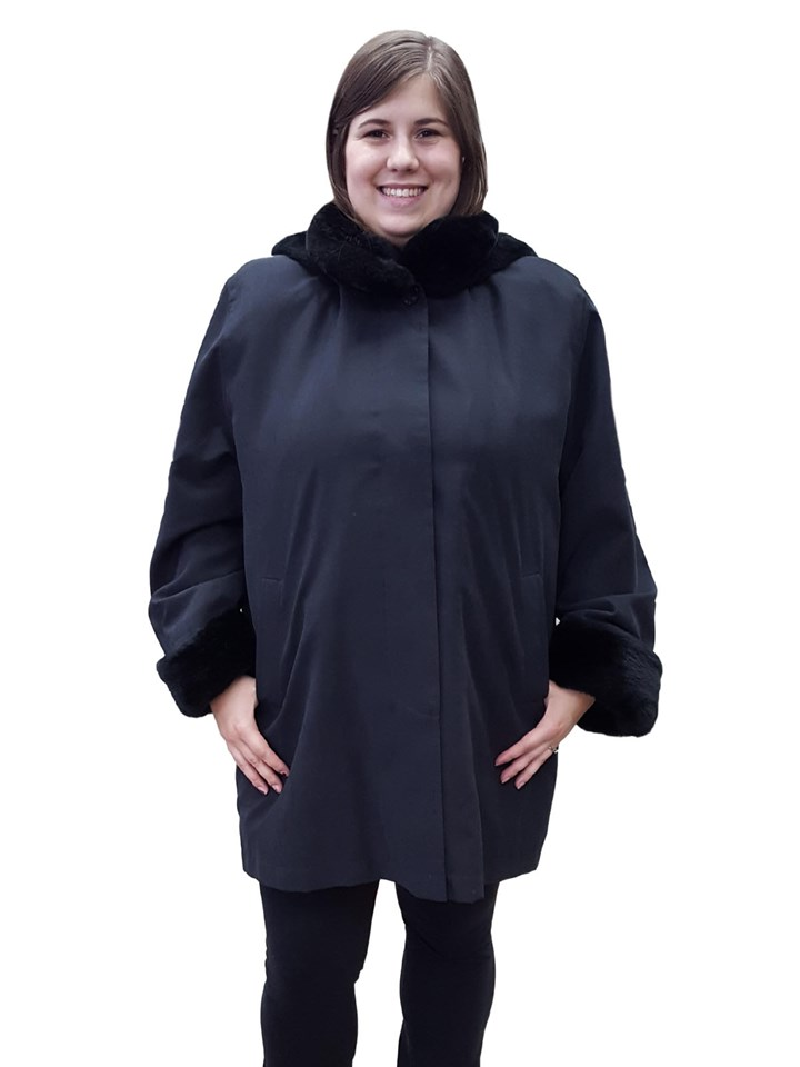 NEW Black Microfiber Coat with Sheared Nutria Trim and Rabbit Liner