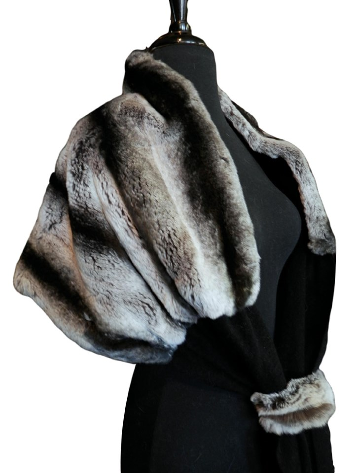 NEW Black Snowtop Chinchilla Rex Rabbit with Cashmere Shawl