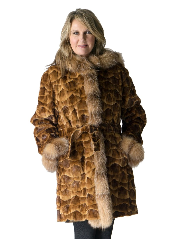 NEW Reversible Gold Demi Buff Sheared Mink Sections Parka with Crystal Fox Trim