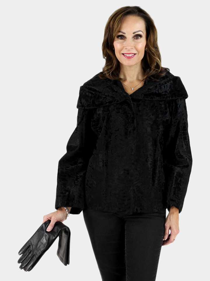 Black Broad Tail Lamb Fur Jacket