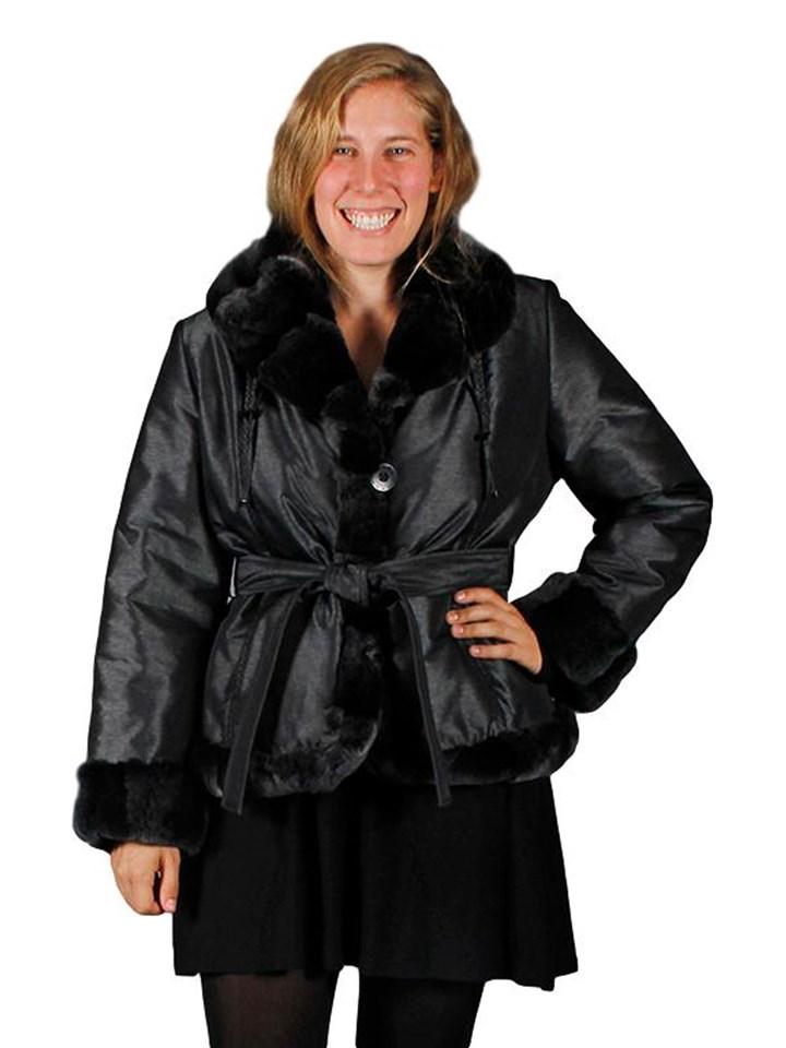 NEW Pewter Metallic Taffeta Silk Poly Filled Jacket with Rex Rabbit Trim