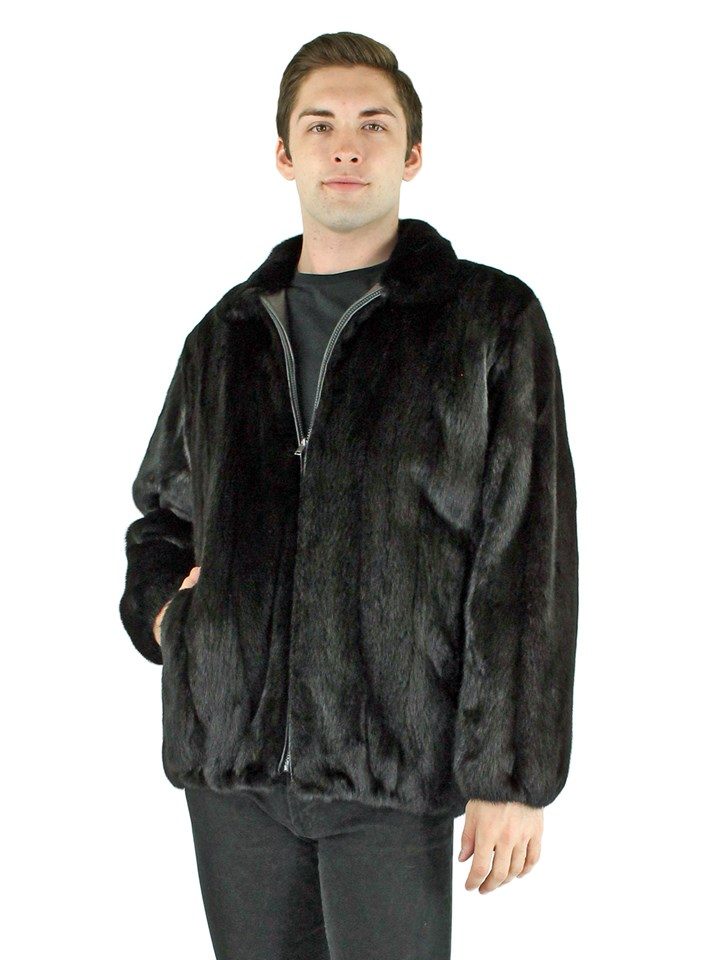 Man's Ranch Mink Fur jacket Reversible to Black Leather