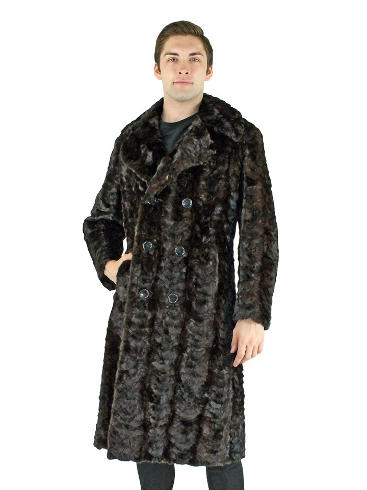 Man's Double Breasted Mahogany Mink Section Fur Coat
