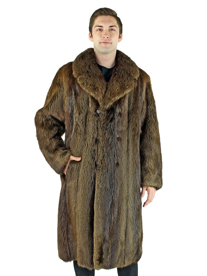Man's Long Hair Beaver Fur Coat