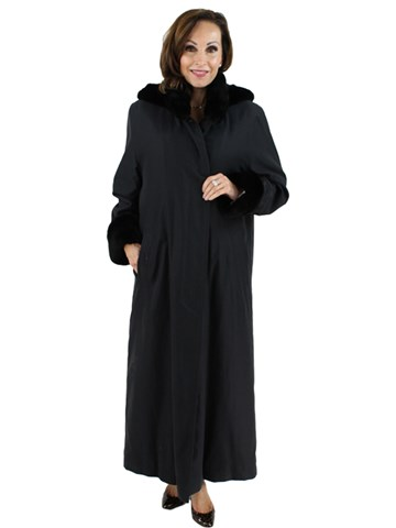 Black Raincoat with Detachable Black Sheared Rabbit Liner