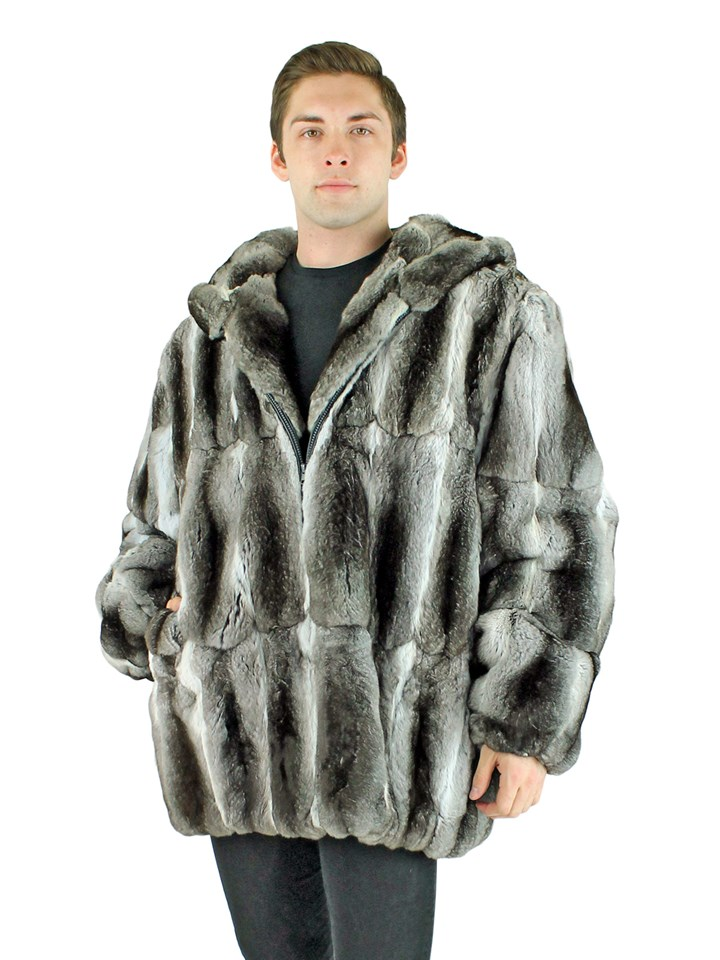 Man's Natural Chinchilla Fur Parka