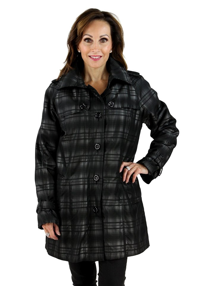 New Woman's Black Fabric Jacket with Rabbit Trim