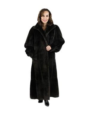 Dark Chocolate Brown Full Length Leather Coat Reversing to Matching Sheared Nutria.
