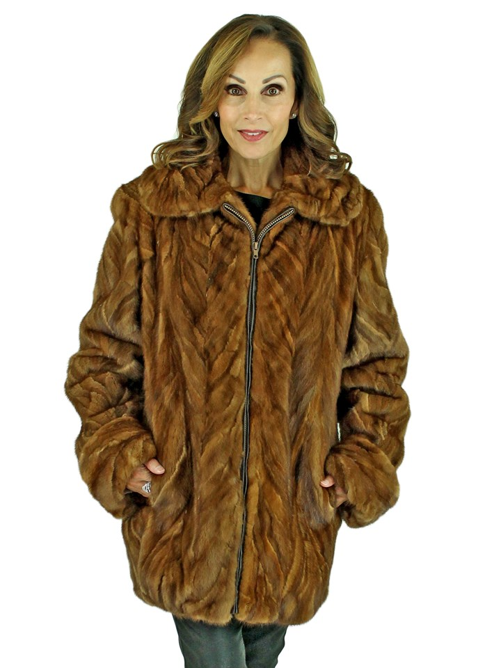 Woman's Whiskey Sculptured Mink Fur Jacket