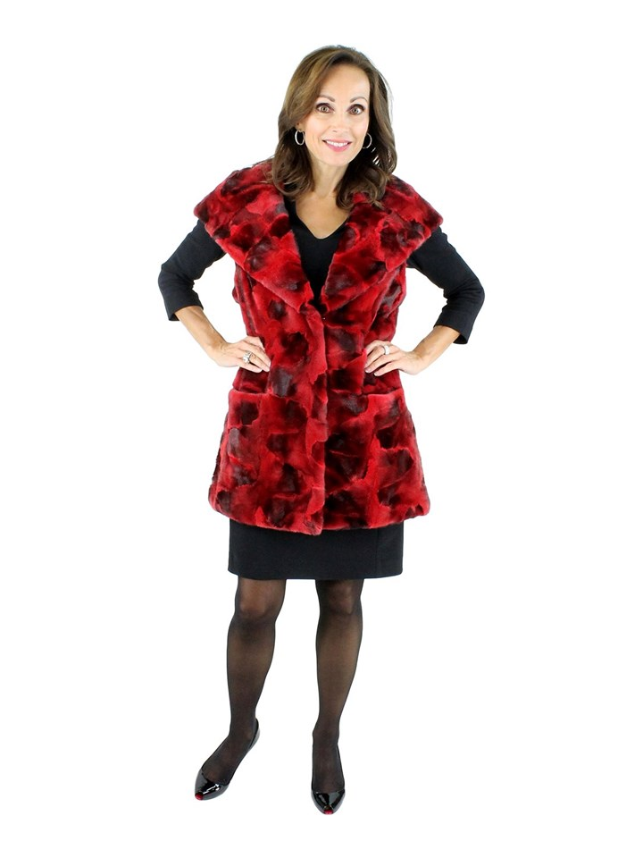 NEW Long Red Semi-sheared Mink Section Hooded Vest